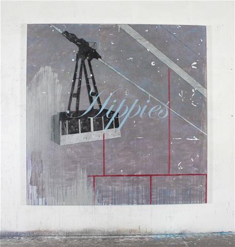Luca Coser, Hippies, tecnica mista su alluminio, cm 190x190, 2012, Courtesy Effearte