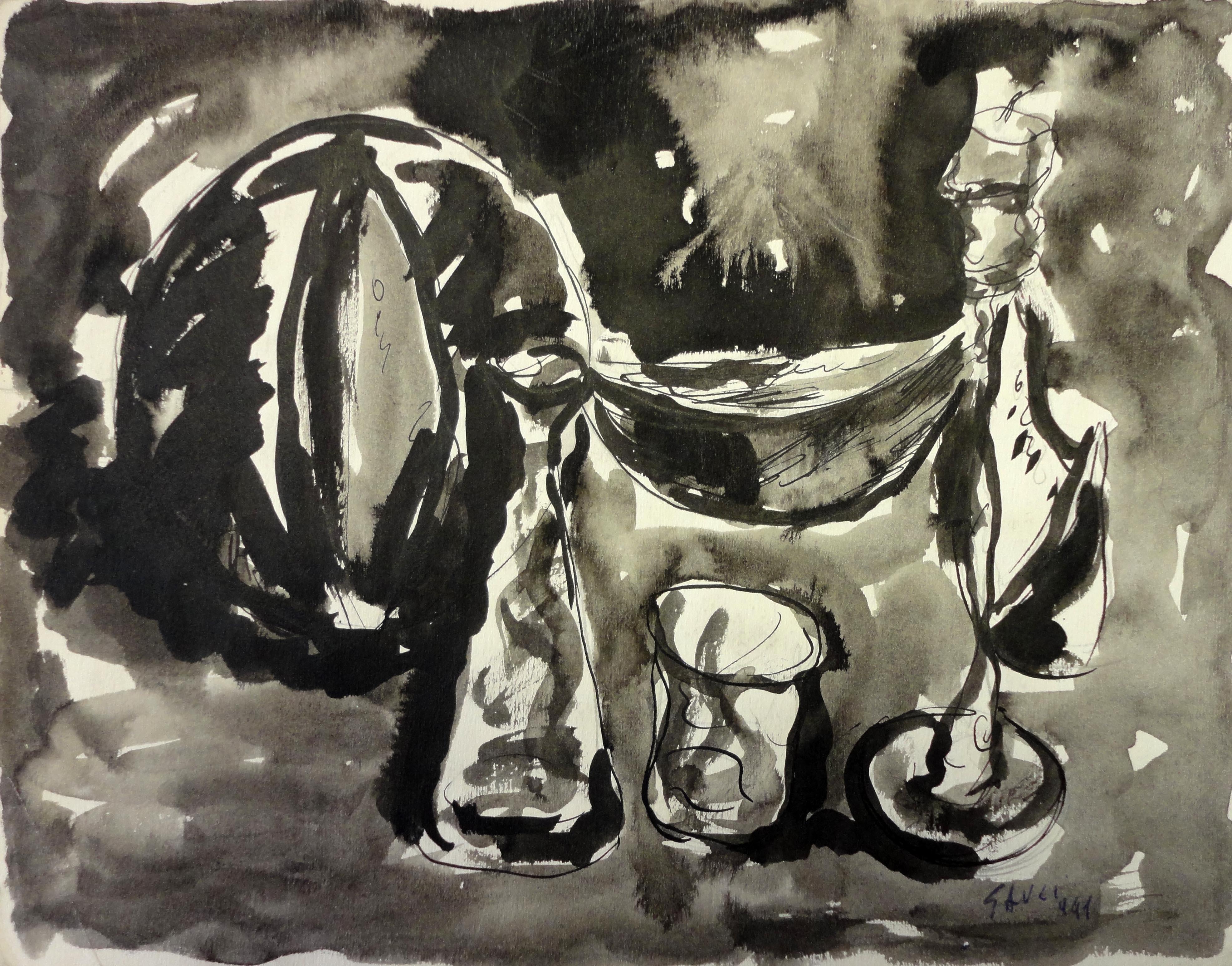Piero Gauli, Composizione con l'anguria, 1941, penna e inchiostro, 24x31 cm