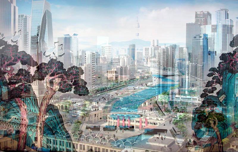 Davide Bramante, MY OWN RAVE Shanghai (Celestiale) , 2007, Tecnica fotografica delle doppie e più esposizioni realizzate in fase di ripresa, su negativo, non digitali. Tecnica di montaggio su plexiglas con silicone a ph neutro 120x180