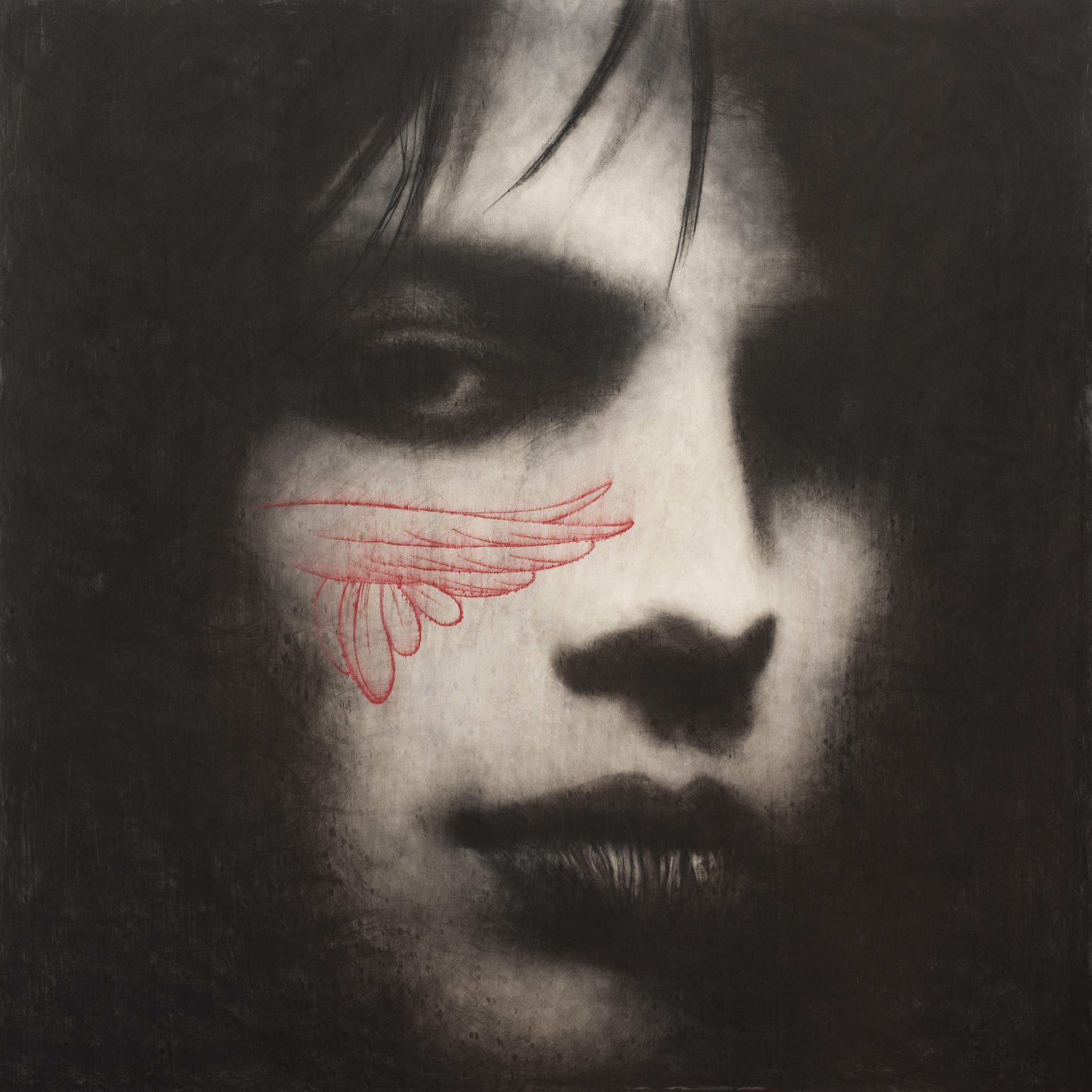 Omar Galliani, Nuovì Fiori, Nuovi Santi, 2012 matita nera su tavola + pastelli cm 180x180