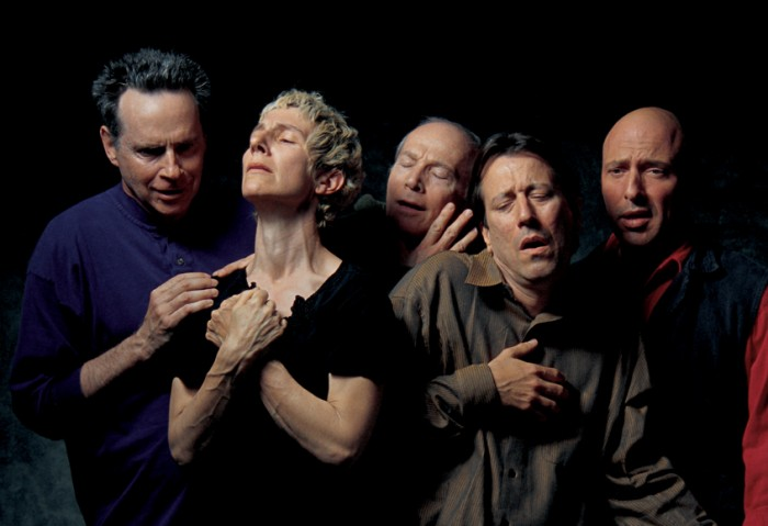 Bill Viola, The Quintet of The Astonished, 2000, Color video rear projection on screen mounted on wall in dark room. Projected image size: 1.4 x 2.4 metres; room dimensions variable