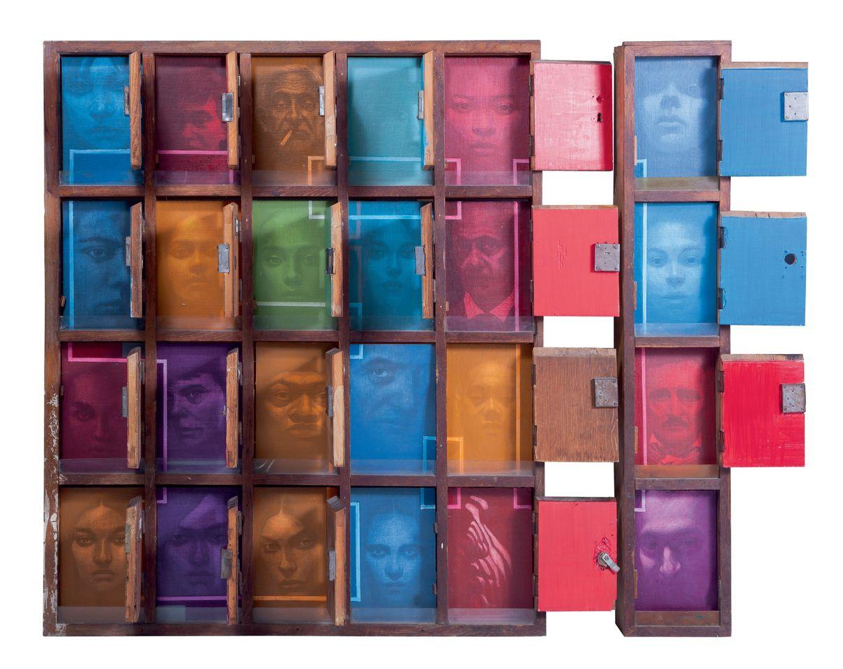 1.SASA MARJANOVIC, facebook, 2012, wood, mixed media, 120 x 140 x 11 cm, Courtesy Genius Art International