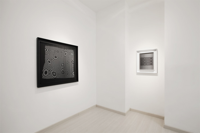 "Alberto Biasi, ""Rilievi ottico-dinamici"", veduta mostra da Dep Art, Milano"