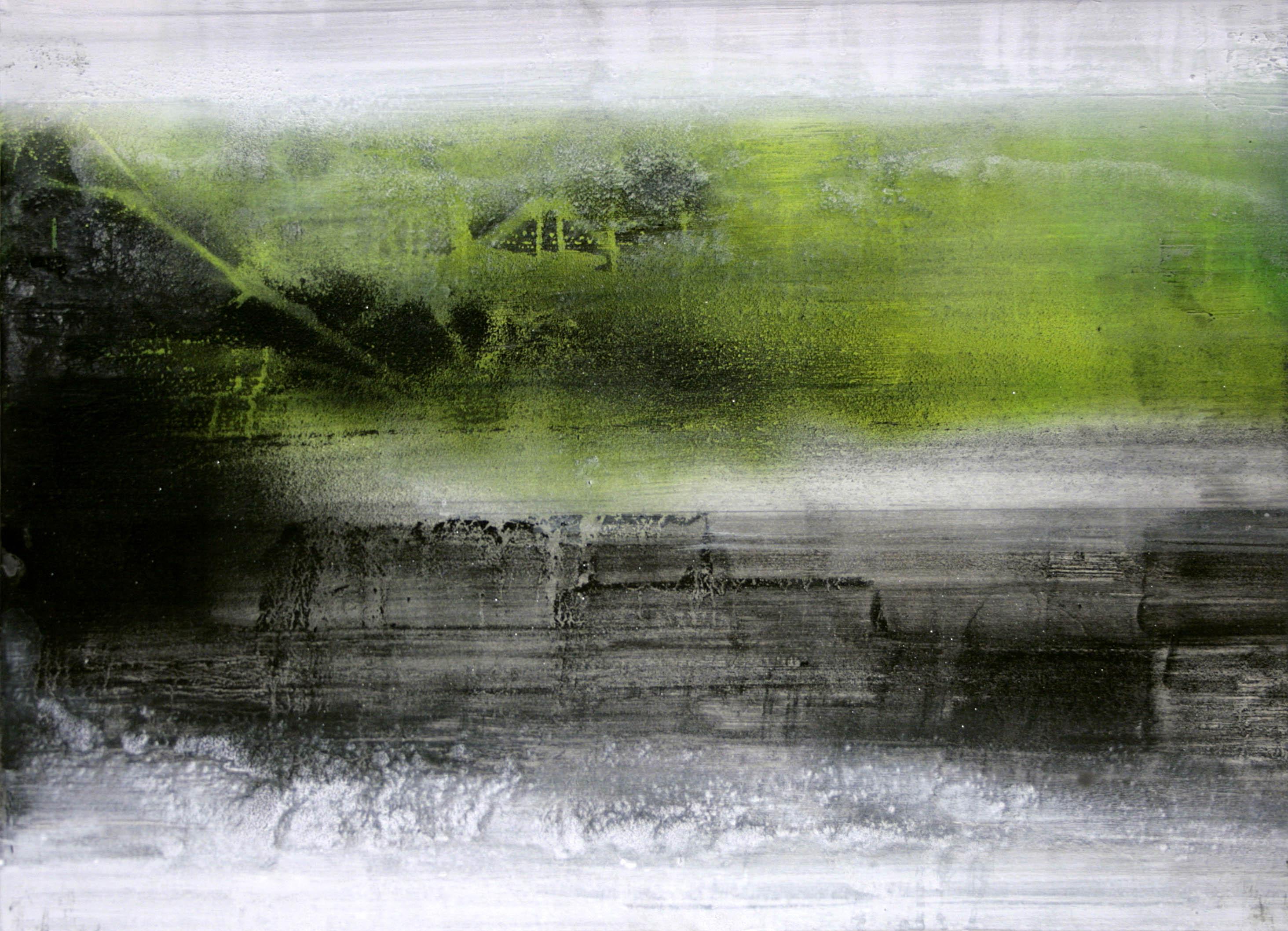 Paolo Bini, Place, 2012, acrilico e mica su tavola, cm 50x70