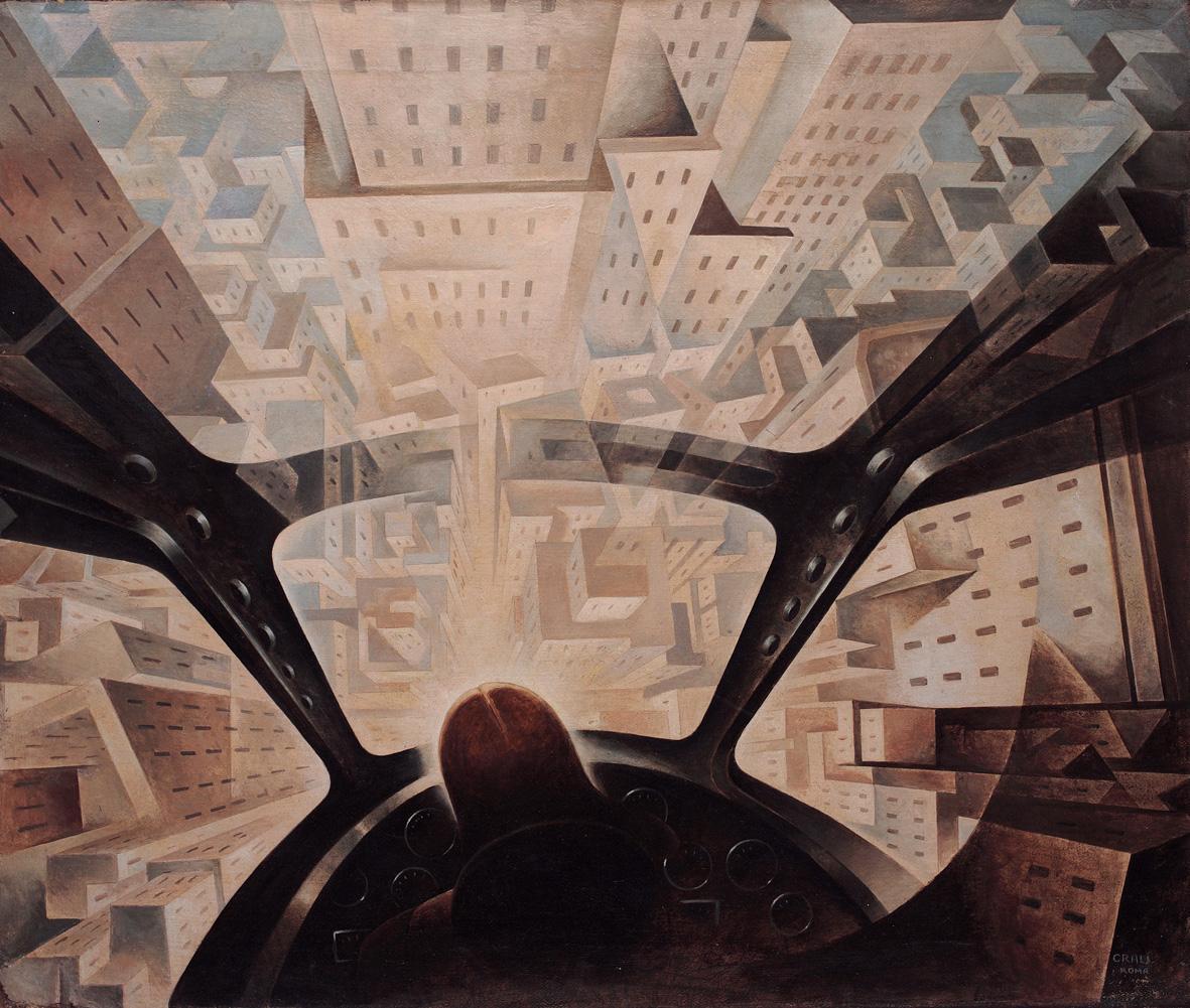 Tullio Crali, Incuneandosi nell'abitato, 1939-40. Roma, Collezione privata