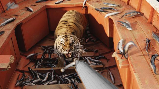 кино парень в лодке с тигром