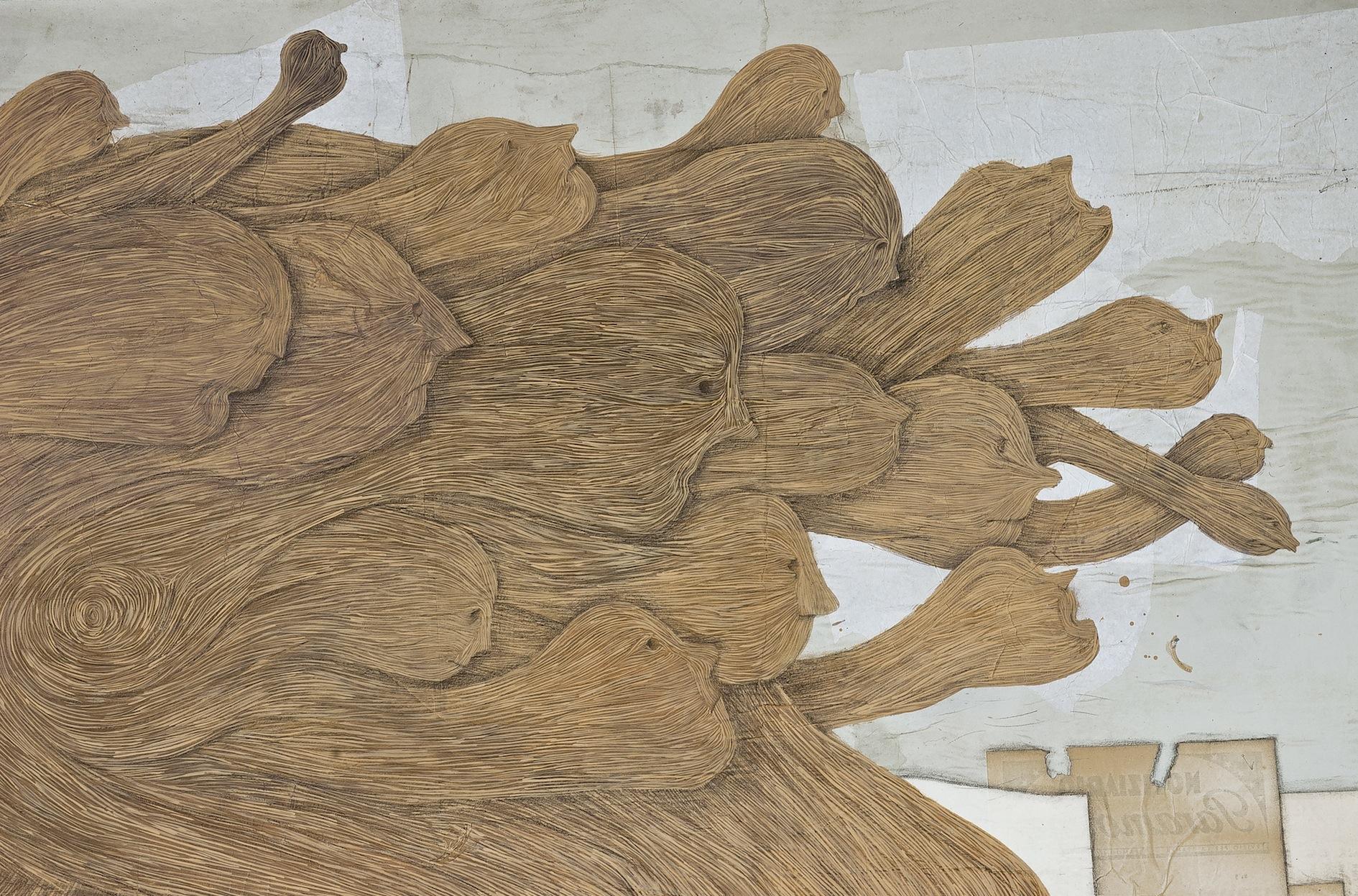 Denis Riva, Paleo, 2013, acrilico, pastello e carta su legno, cm 107x181 (particolare)