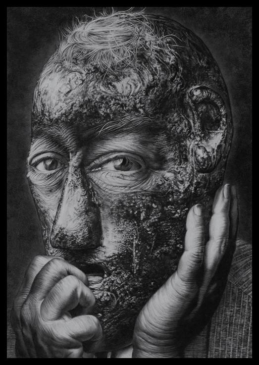 Jose Molina, Merrick y el dolor (Merrick e il dolore), matita bianco e nero, 2012