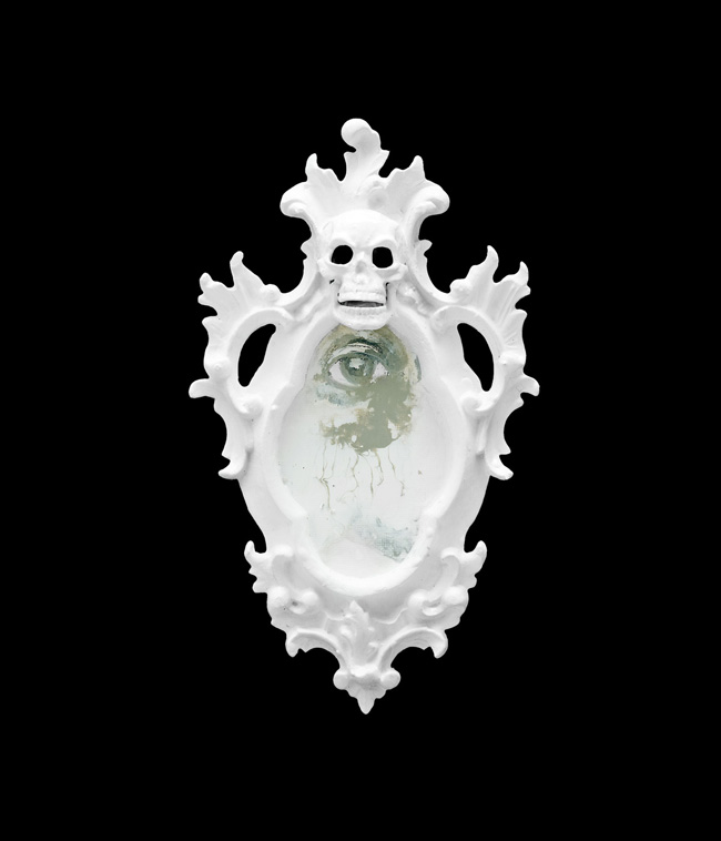1500 Skull Panel, 2012, enamel on wood, cm 35x20x5,5