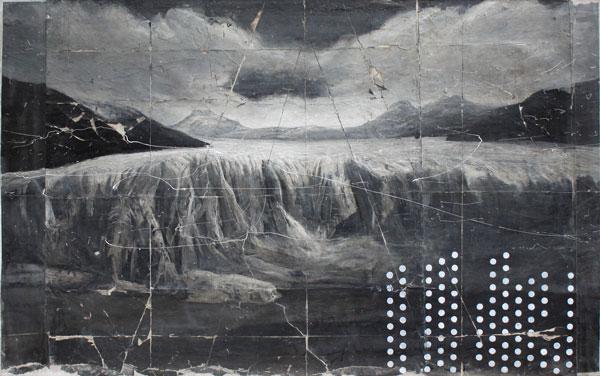 Andrea Mariconti, Aleifar kanon, 2012, olio, cenere e petrolio su tela, cm 50x80