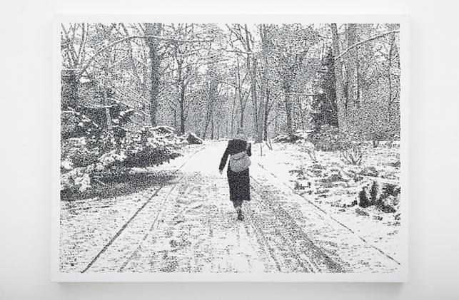"""Federico Pietrella, """"Dall'8 al 18 Marzo 213"""", acrilico timbrato su tela, cm 90x120, veduta della mostra """"New works"""", Galleria Giuseppe Pero, Milano"""