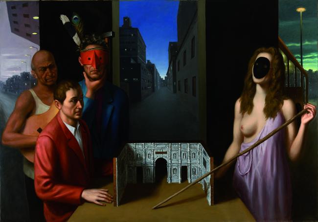 Stefano Di Stasio, La sera del teatro, 2011, olio su tela, cm 140x200. Courtesy: Studio Vigato, Alessandria/Milano