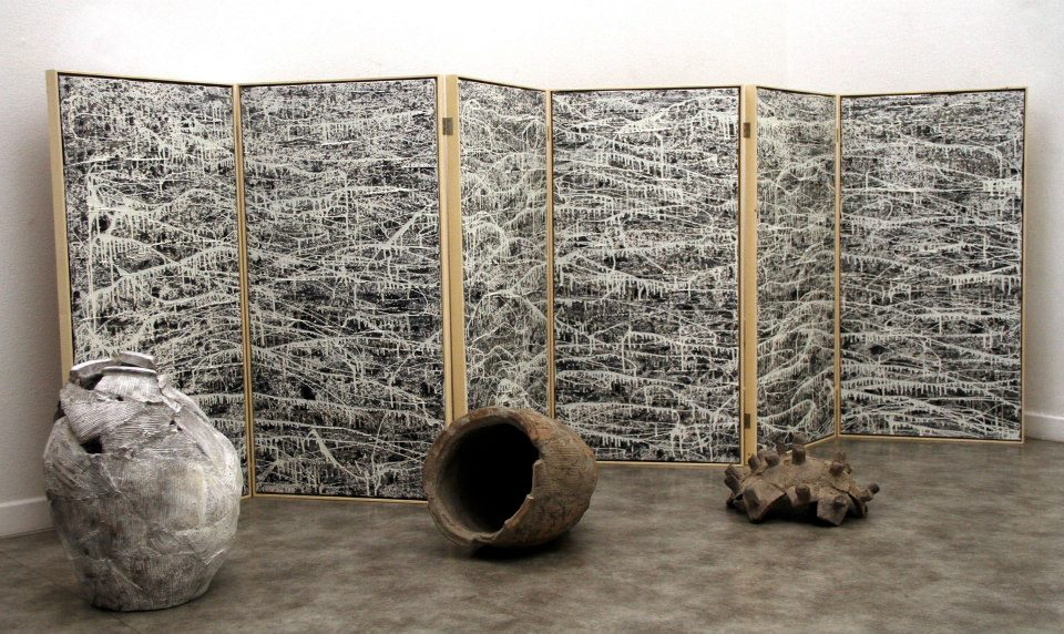 Mutsuo Hirano, veduta della mostra Ri-Costruzioni, Paraventi Giapponesi - Galleria Nobili, Milano. Foto: Andrea Sartori