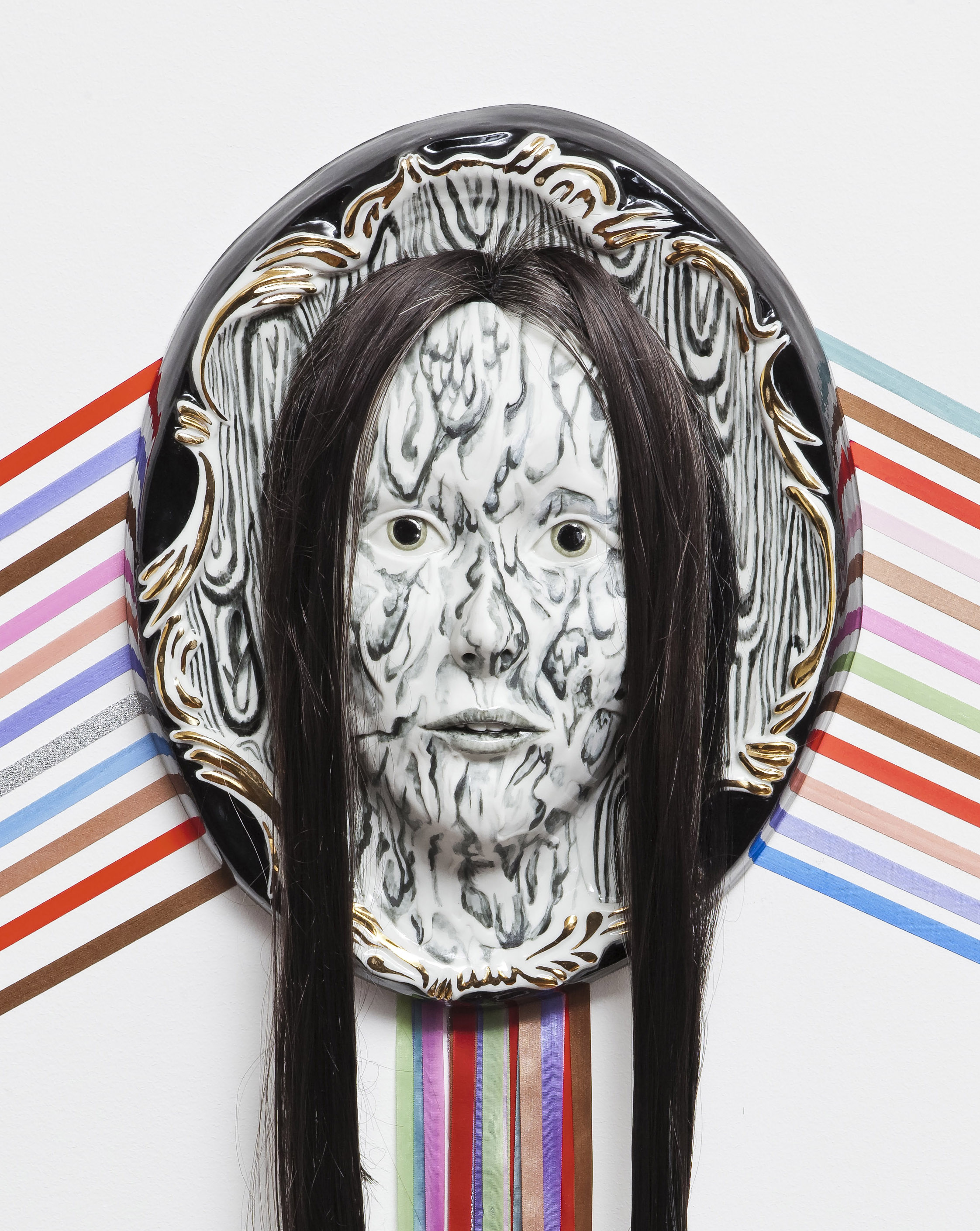 Shary Boyle, Canadian Artist, 2012 (detail), plaster, goldleaf, ribbon, porcelain, hair Commissioned for the BMO Project Room, Toronto. Photo: Toni Hafkenscheid Courtesy the artist and Jessica Bradley Inc.