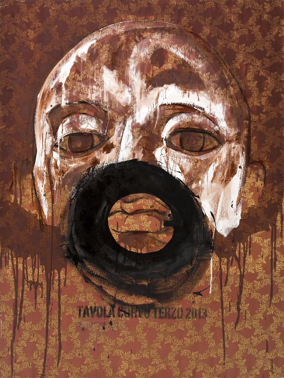 Roberto Coda Zabetta, Tavola Corvo Terzo, 2013, smalto e resine su tessuto, cm 200x150