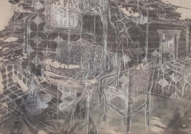 Federico Guerri, Camera (particolare), 2013, grafite e pastello su tela, 130x120 cm