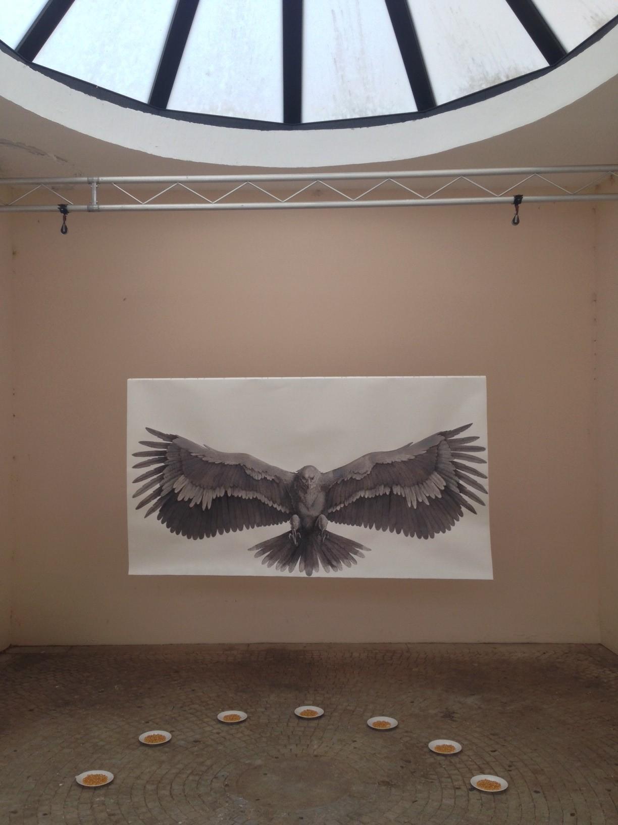Vanni Cuoghi, The Scarescrow, installazione, tecnica mista su carta, Serre di Piazza Martinelli