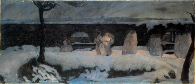 Edoardo Berta, Funerale Bianco, 1901, olio su tela, 102x231, Pinacoteca comunale Casa Rusca, Locarno Cat. 202