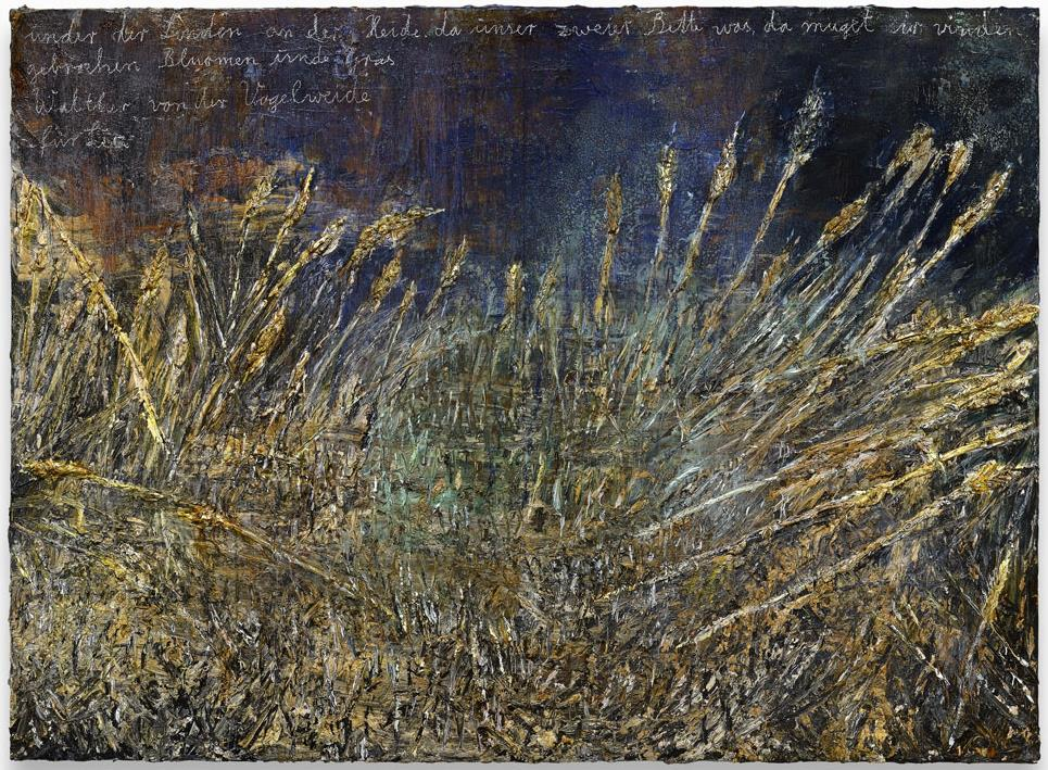 Anselm Kiefer, Unter der Linden an der Heide da unser zweier Bette was, da muget ir vinden gebrochen Blümen und Gras - Walther von der Vogelweide - für Lia, 2013, acrylic, emulsion, oil and shellac on photograph mounted on canvas, 280x380 cm