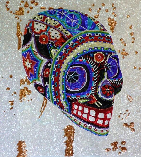 Daniel González, Criminal Aesthetic fashion Soundsystem, 2013, paillettes cucite a mano su tela, 190x160 cm (dettaglio) Photo Danesin