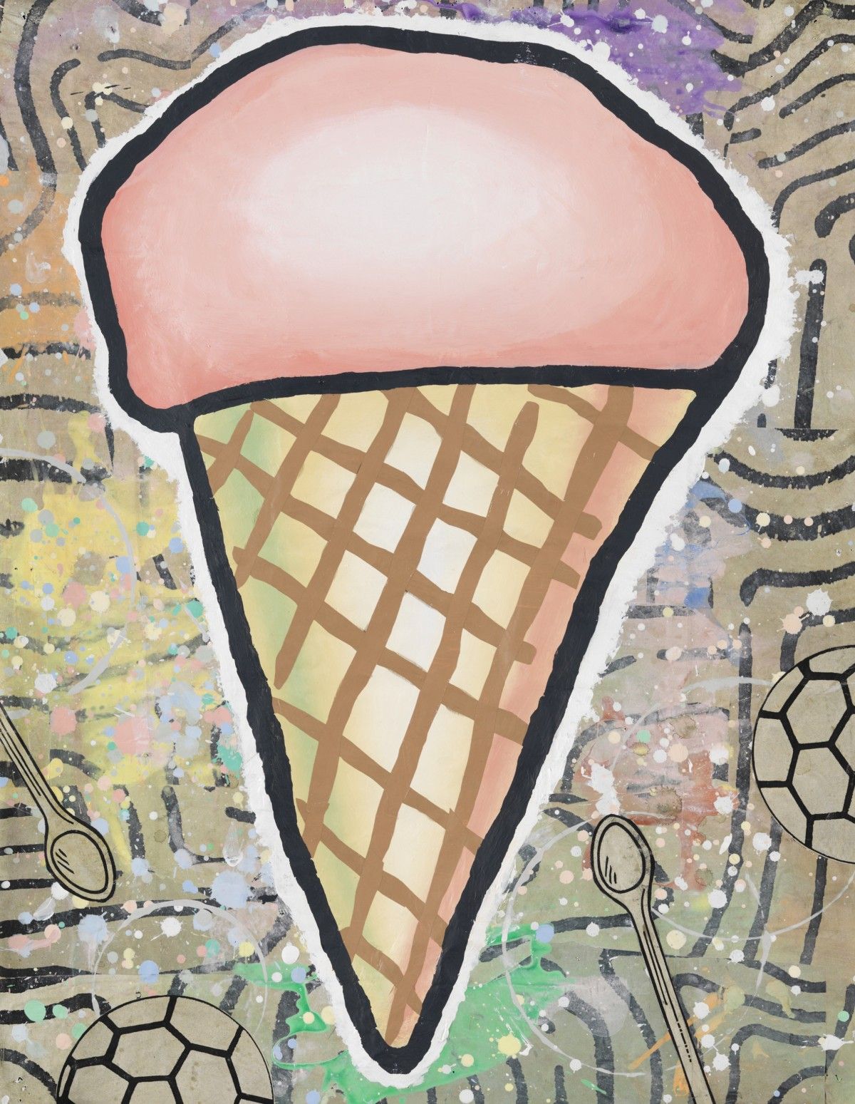 Donald Baechler, Cone, 2013, gesso, flashe e collage su carta