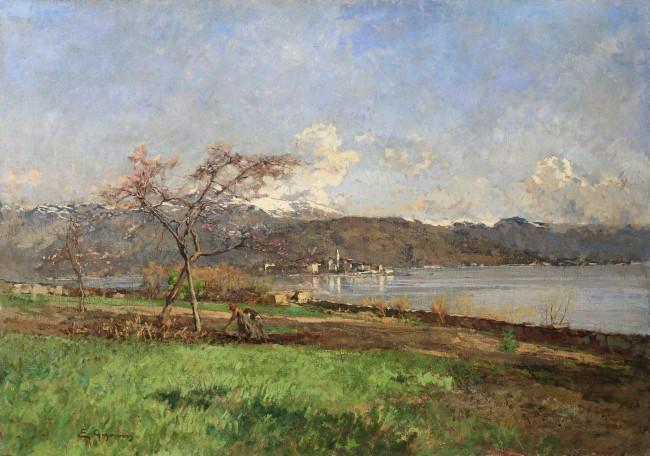 Eugenio Gignous, Primavera. Lago Maggiore con l'Isola dei pescatori, olio su tela, cm 85.5x120 Courtesy Enrico Gallerie d'Arte, Milano - Genova