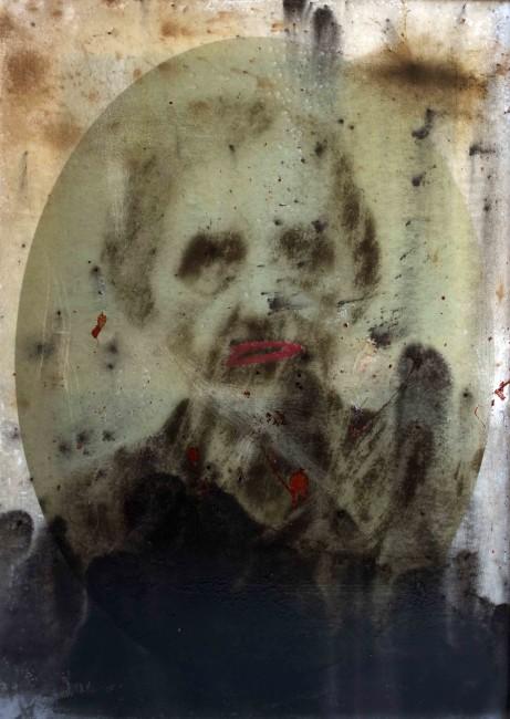 Massimiliano Pelletti, Untitled, 2013, tela stampata, ossidi tecniche miste e resina epossidica, 90x70 cm