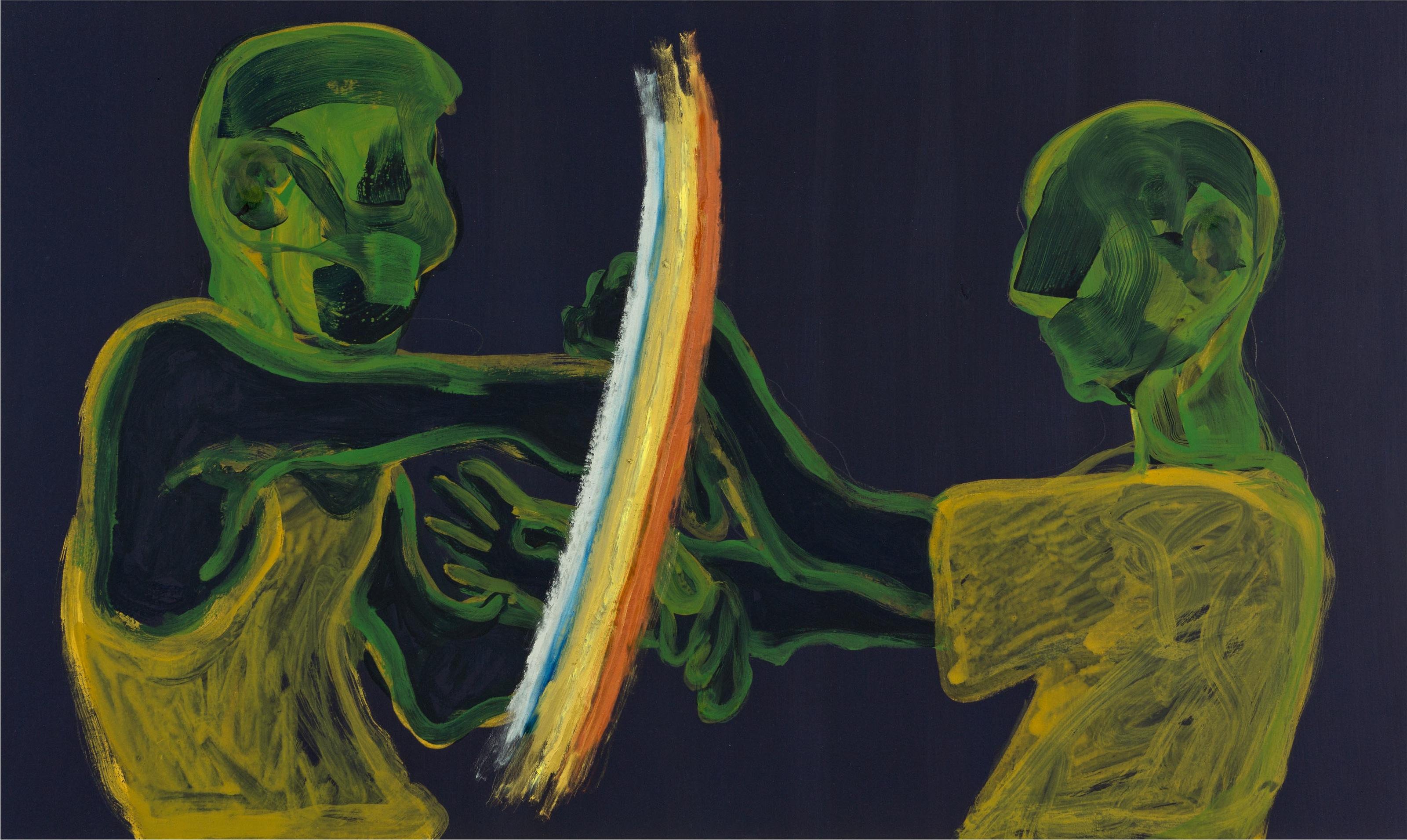 """Matteo Fato, """"Senza titolo con quattro mani"""", olio e preparazione a pigmento su tavola, 60x100cm, mensola in MDF, 2013"""