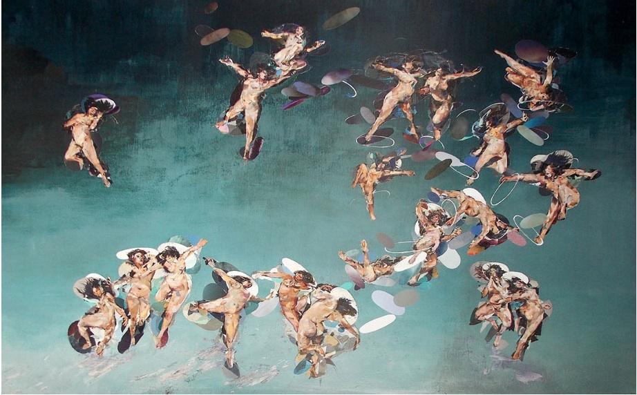 Silvia Beltrami, L'altra metà del cielo 2013 collage su faesite cm 141 x 216