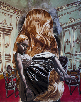 Ryan Mendoza, Abandoned house interior with large wig-250x200cm-2011-13 bassa
