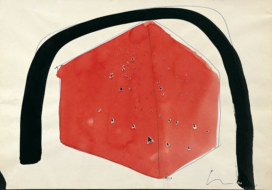 Lucio Fontana, Ambiente spaziale, 1960, penna a sfera blu e rossa su carta, 22.2x32 cm (60 DAS 18)