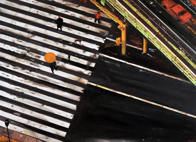Carmine Ciccarini, Man with yellow umbrella, 2013, olio su tela, cm 140x100