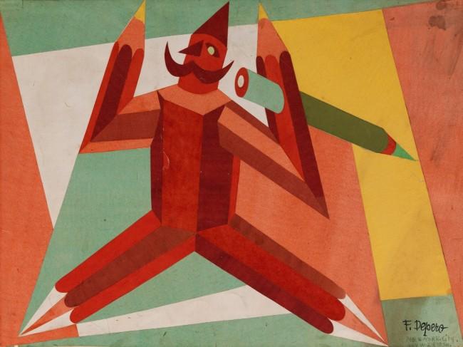 Fortunato Depero, Bozzetto per manifesto pubblicitatrio Uomo-matita