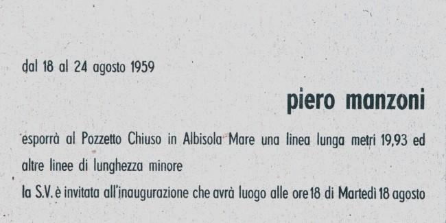 """Invito della prima mostra di """"Linee""""  di Piero Manzoni, Pozzetto Chiuso, Albisola Mare, 8-16 agosto 1959"""