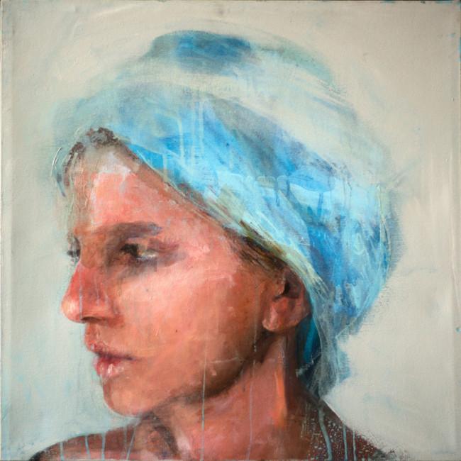 ROBERTA CONI - Ragazza con turbante azzurro, olio e acrilico su tela, 50x50cm, 2011