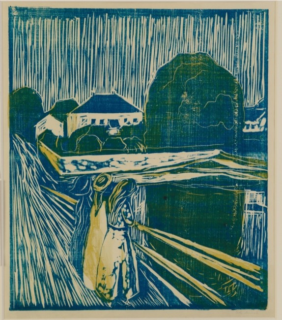 Edvard Munch, Le ragazze sul ponte, 1918, disegno a colori, 58.20x42.90 cm, Collezione private © The Munch Museum / The Munch-Ellingsen Group by SIAE 2013