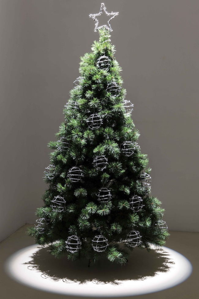 here and now, 2013, Christmas tree, ball of barbed wire, cm 210 x 100 x 100 Courtesy Galleria Umberto Di Marino, Napoli, Italy foto Renato Ghiazza