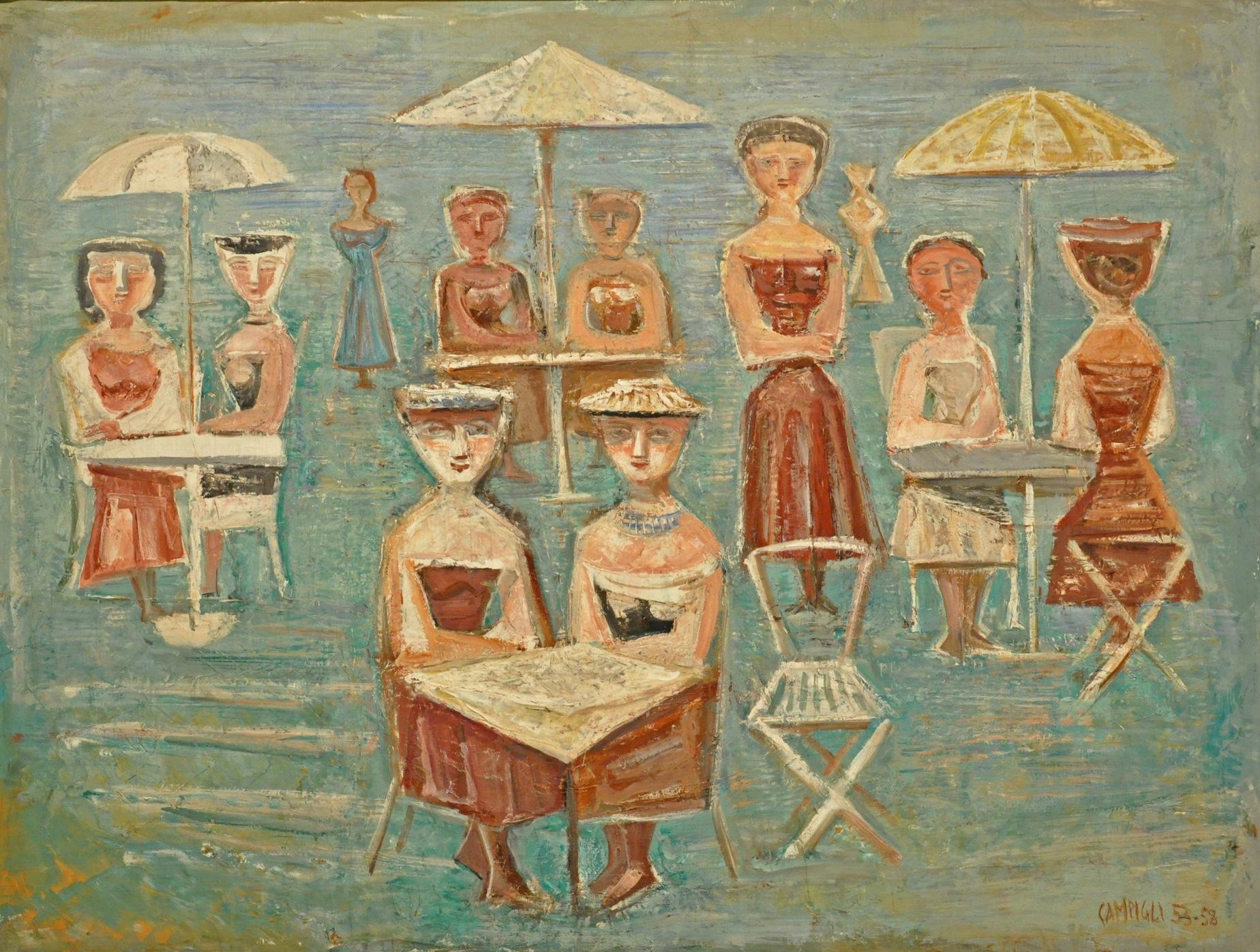 Massimo Campigli, Garden Party, 1953-58, olio su tela, 103x136 cm Courtesy Galleria Tega, Milano