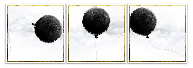 COMETS TRYPTIC, 2013, stampa digitale su carta cotone Bright White - Hahnemuehle, cornice dipinta, foglie di ottone, 3 elementi, ognuno cm 95x95