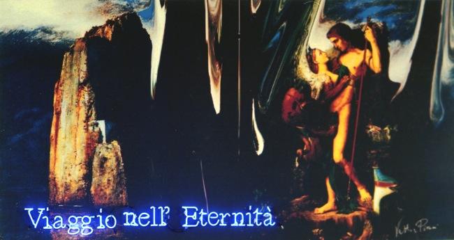 Vettor Pisani, Viaggio nell'eternità, 1996 - 2004, tecnica mista su tela e neon, Collezione Fondazione Morra, Napoli, courtesy Fondazione Morra, Napoli
