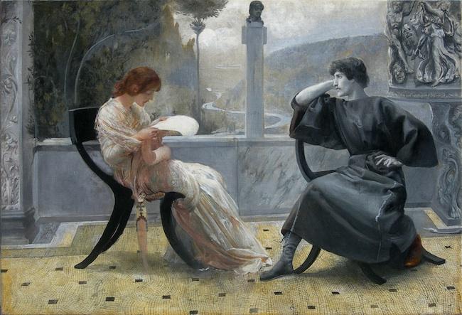 Giulio Aristide Sartorio, La Lettura o Catullo e Clodia, Olio su tela Roma, Collezione privata