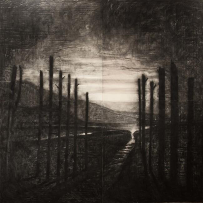 Omar Galliani, Paesaggio dei miei veleni (D'après Fontanesi), 2013, matita e acrilico su tavola di pioppo, 400x400 cm (opera nuova)