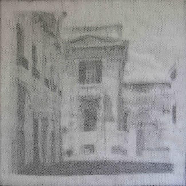 Giorgio Tentolini, Underneath - Periferie (via Solferino, Messina), 2013, 14 strati in tulle bianco incisi a mano e sovrapposti, 42x42 cm