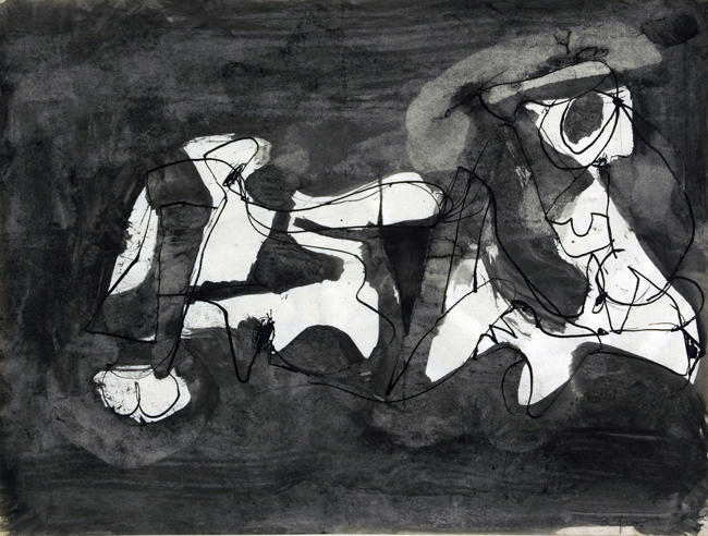 Afro, Senza titolo, 1960, tempera e inchiostro su carta  © Afro Basaldella, Raccolta del disegno, Galleria civica di Modena