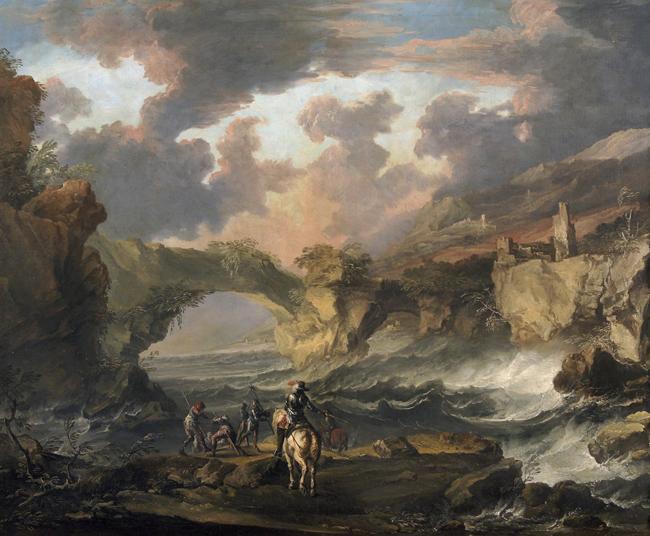 Antonio Marini, Paesaggio con cavalieri, olio su tela, cm 100x155