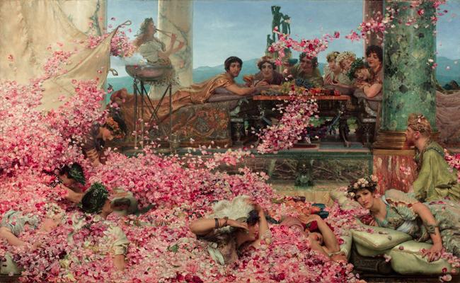 Alma-Tadema, Les Roses d'Héliogabale, 1888, olio su tela, 10304, 132,7x214,4 cm, 193,5x261,2x11,5 cm, Collezione Pérez Simón, Messico © Studio Sebert Photographes