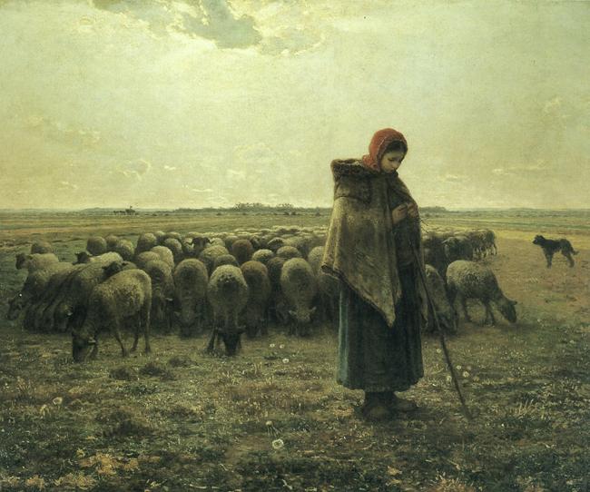 Jean-François Millet, Bergère avec son troupeau / Pastorella con gregge, 1863 circa, olio su tela, cm 81x101