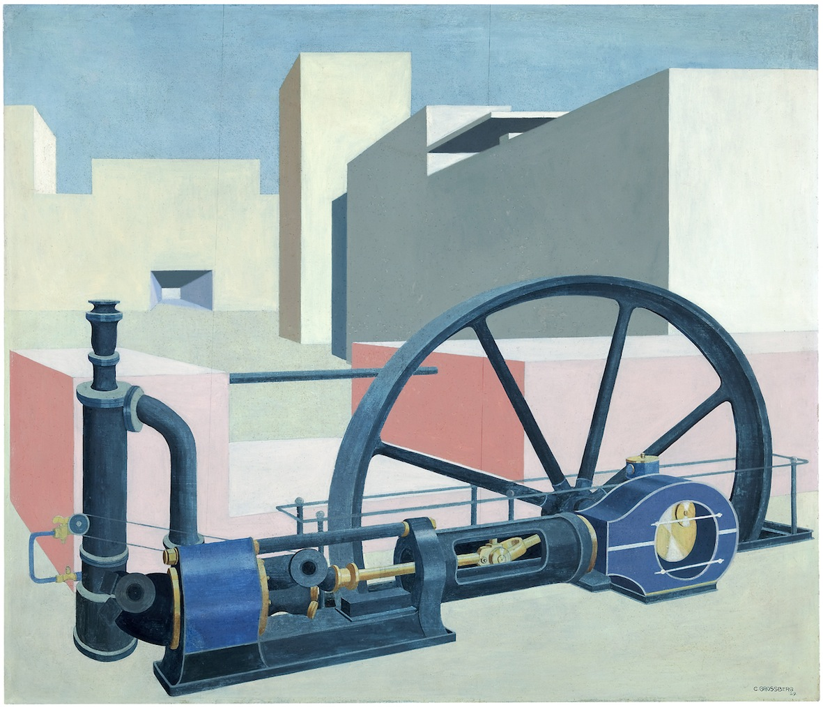 Carl Grossberg, Komposition mit Turbine, 1929, olio su tavola, 60x70 cm