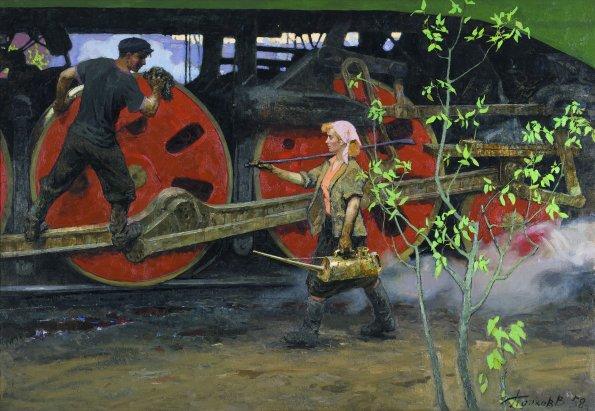 Viktor Popkov, Primavera al deposito, 1958