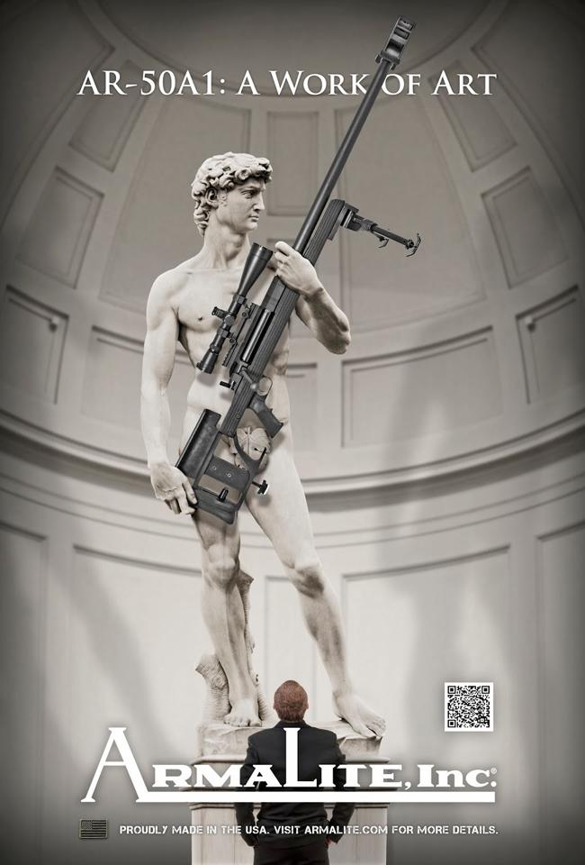 La campagna pubblicitaria di ArmaLite Inc. ritrae il David di Michelangelo con un fucile